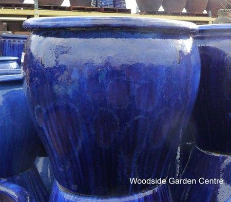 Large Glazed Blue Tree Planter X 2 Woodside Garden Centre Pots To Inspire Woodside Garden Centre Tree Planters Blue Planter
