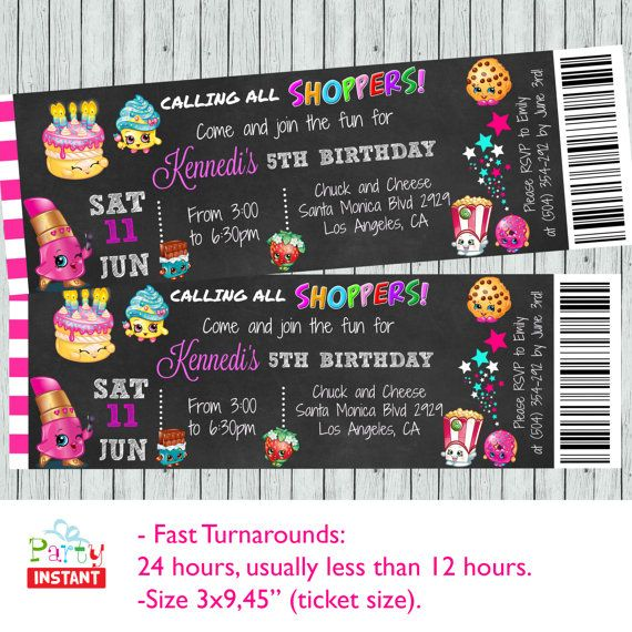Shopkins birthday party invitation shopkins by PartyInstant - party ticket invitations