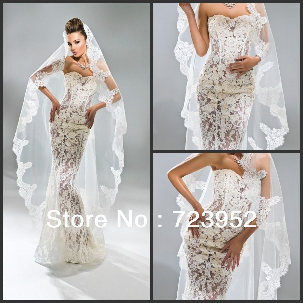 Sexy Lace See Through Wedding Dresses Sweetheart Sheath Column