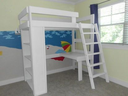 Loft Bed Plans With Bookshelf And Desk Twin Loft With Bookcase