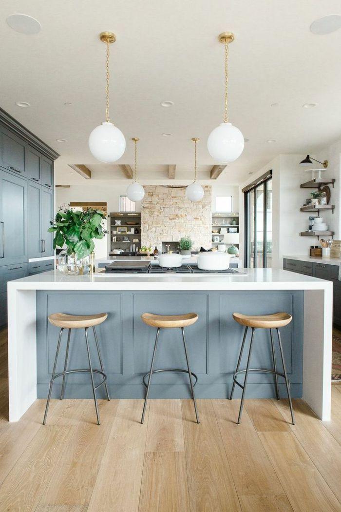 Wohnküche Kücheneinrichtung In Weiß Grau