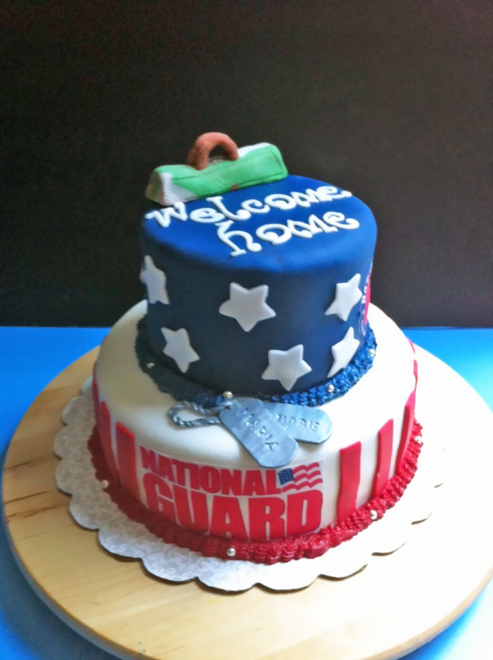 Patriotic Cake Fondant National Guard Red White And Blue