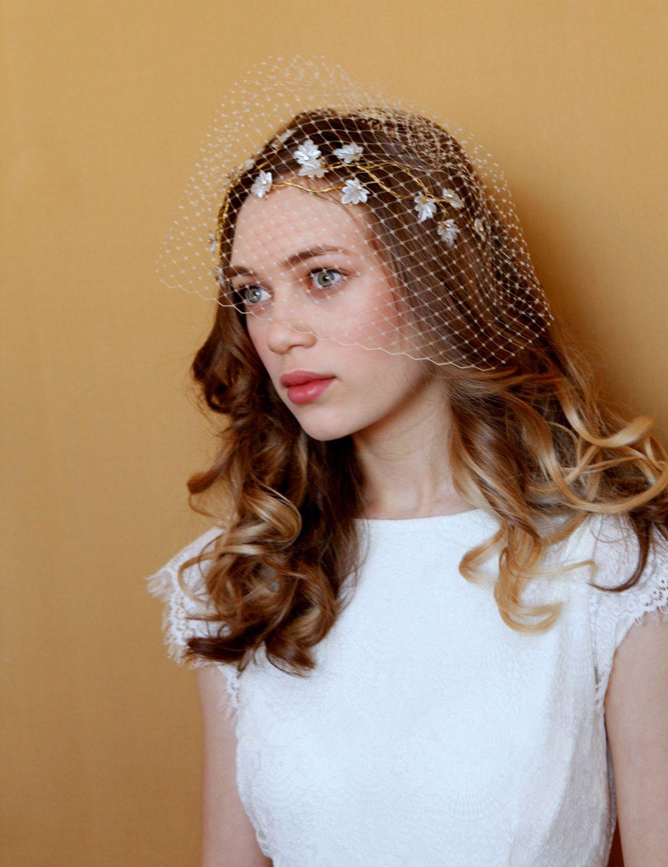 wedding hair vine and birdcage veil, bridal hair accessory