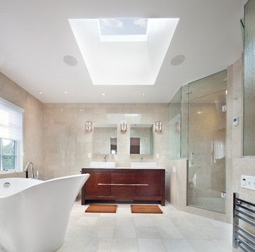 the natural light in the master bathroom - along with the