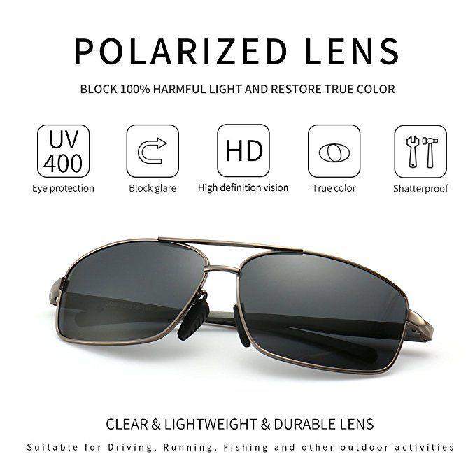 ed227902389a4 SUNGAIT Ultra Lightweight Rectangular Polarized Sunglasses 100% UV  protection (Gunmetal Frame Gray Lens
