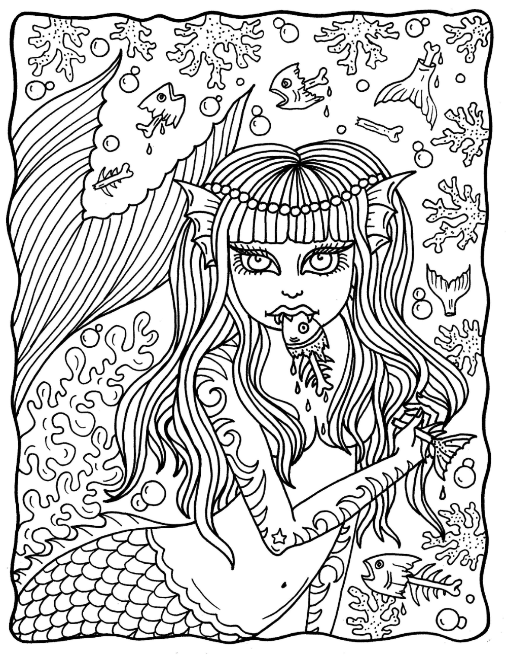 Mermaid Nightmares Pdf Downloadable Printable Digital Coloring Book Mermads Sirens Halloween Scary Love Coloring Pages Coloring Books Fairy Coloring Book [ 1294 x 1000 Pixel ]