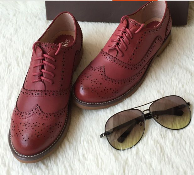 ef7ced176 Details about Retro Oxfords Womens Leather Flat Low Heels Brogues ...