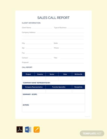 Daily Sales Call Report Template Free Download (9 (Dengan ...