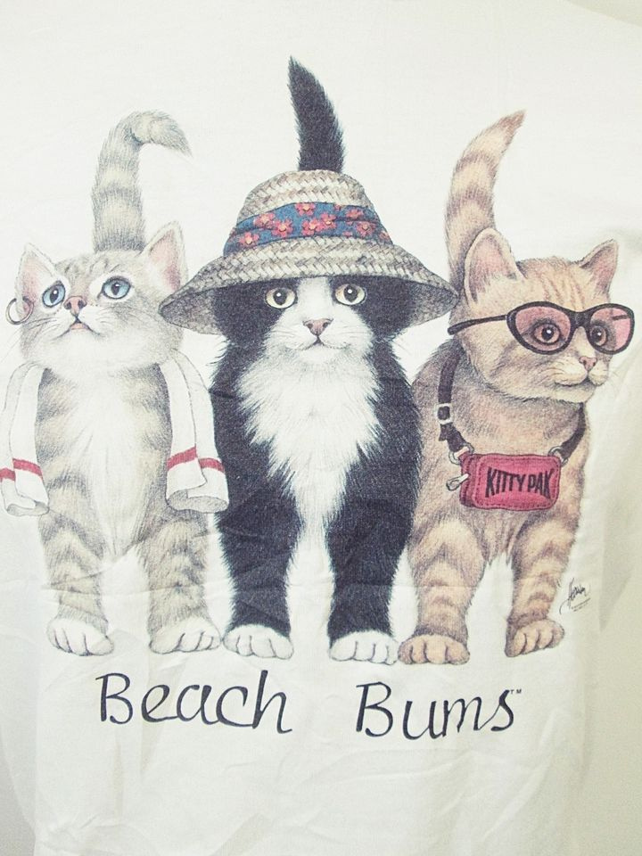 Retro American Animal Print Tees Cat Kitten Bums Tshirt