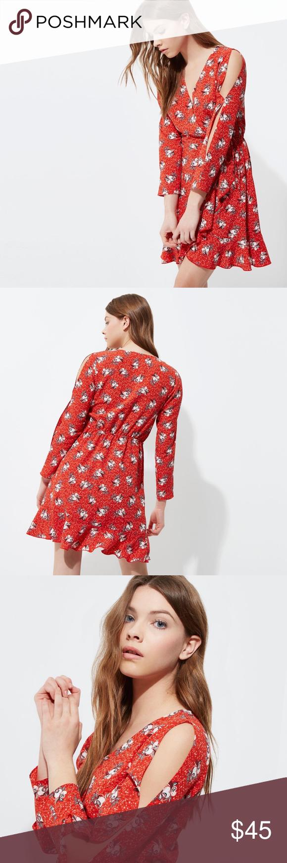 River island red floral print frill wrap dress my posh closet