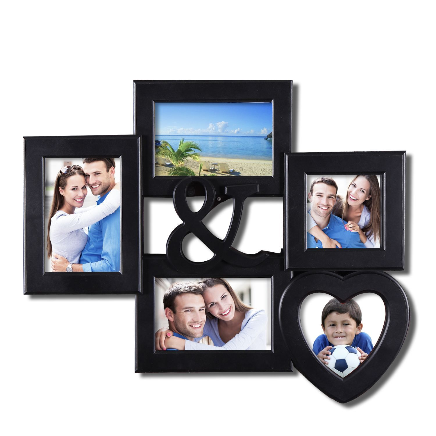 Adeco 5-opening Heart-shaped Black Wall Hanging Collage Picture ...