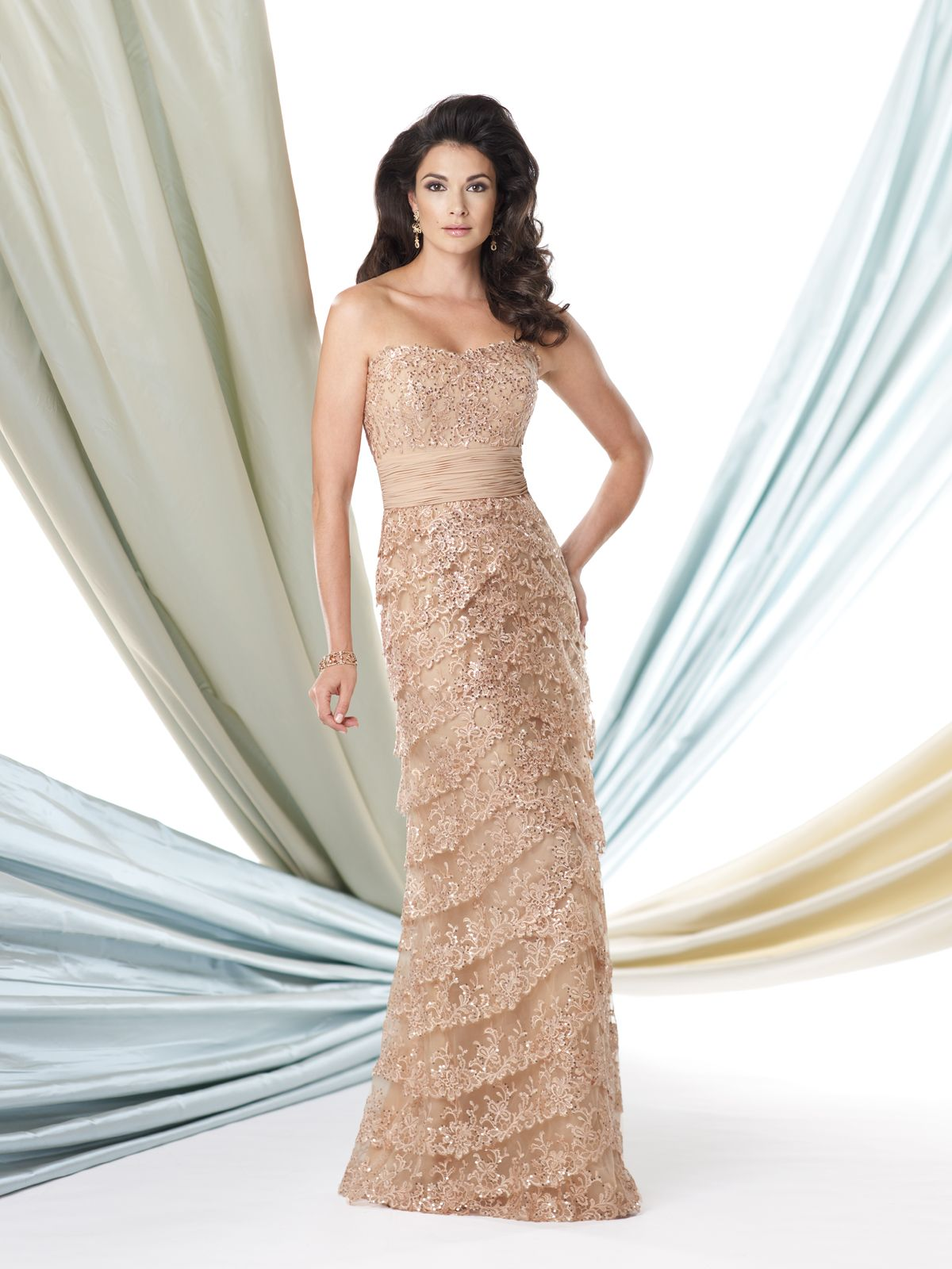 Strapless sequin lace and chiffon slim aline dress with softly