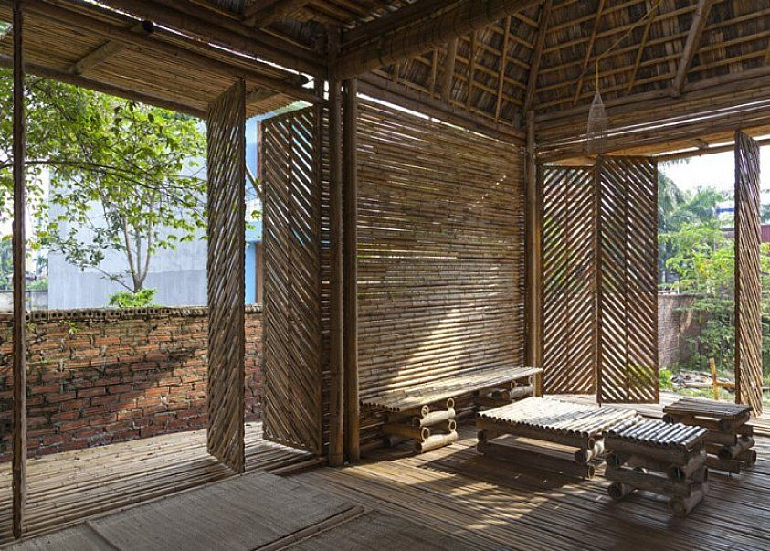 Bamboo Pivot Doors Arquitectura Tropical Diseno Arquitectonico