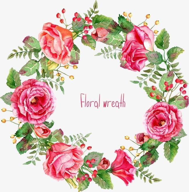 Beautifully Painted Wreath Flower Vector Flower Flower Wreath Png Transparent Clipart Image And Psd File For Free Download Flor Aquarela Vetores Florais Aquarela Floral
