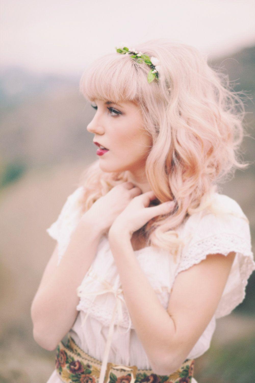 Bridal flower crown, Woodland wedding headpiece, White rose circlet ...