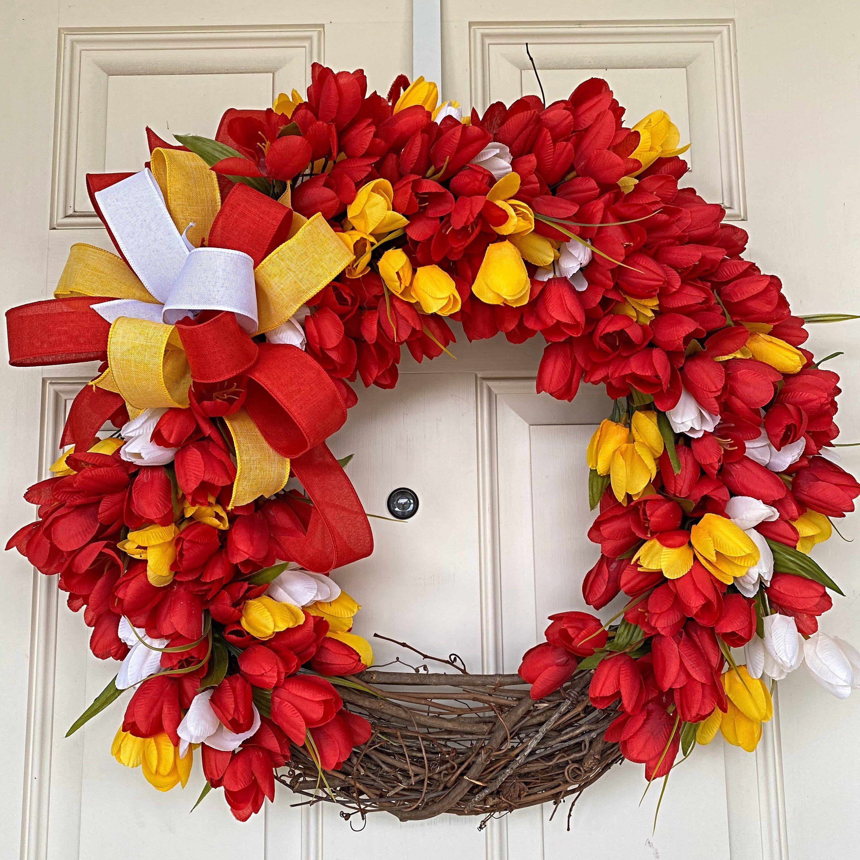 Photo of Spring Wreath, Tulip Wreath, Front Door Wreath, Spring Tulip Wreath, Summer Wreath, Welcome Wreath, Floral Wreath, Spring Door Wreath
