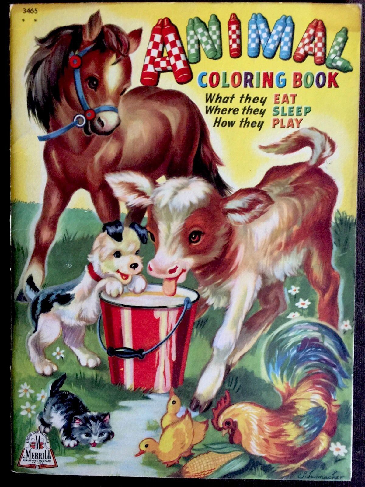 ANIMAL COLORING BOOK ~ Vintage Oversized Merrill Children\'s 1944 ...