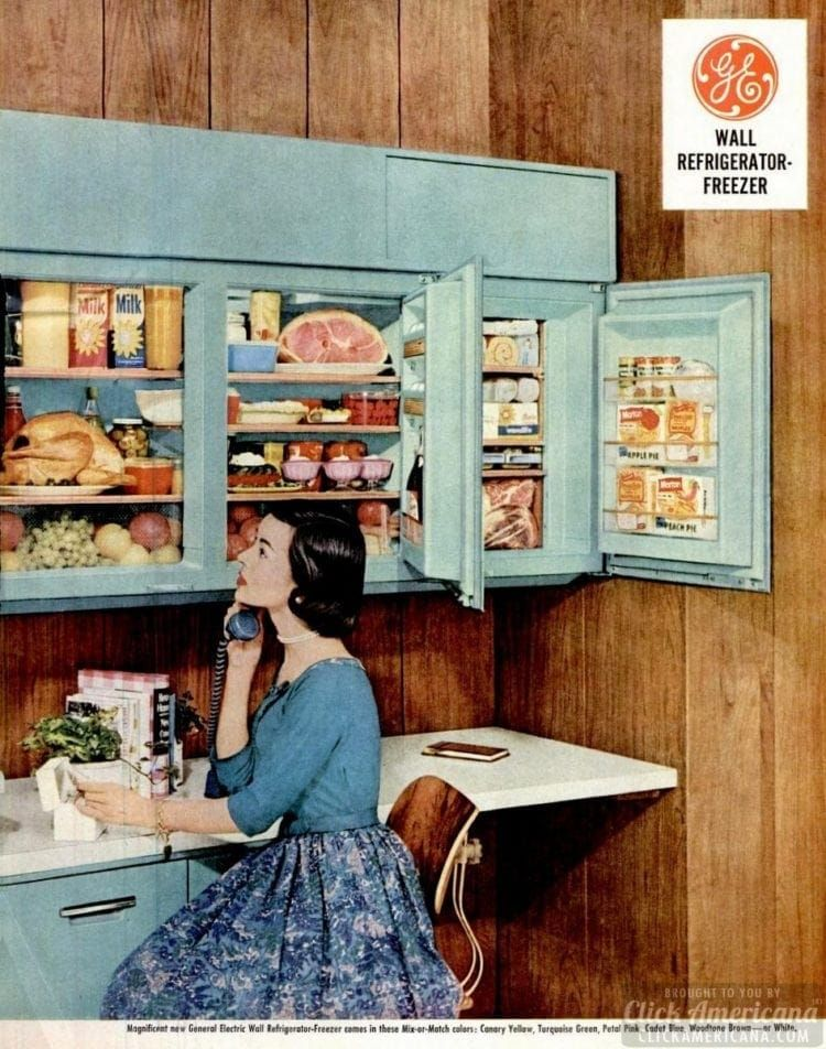 Forget kitchen cabinets - install a wall-mounted refrigerator! (Yes - this was really a thing in the '50s) - #vintagekitchen #50skitchen #refrigerators #appliances #vintage #fifties #homedecor #retrohome #vintagehome #kitchenappliances #fridge #strange #clickamericana