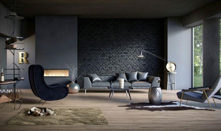 Id e peinture salon neutre mur brique noir fauteuil anthracite chemin - Peindre un mur en brique ...