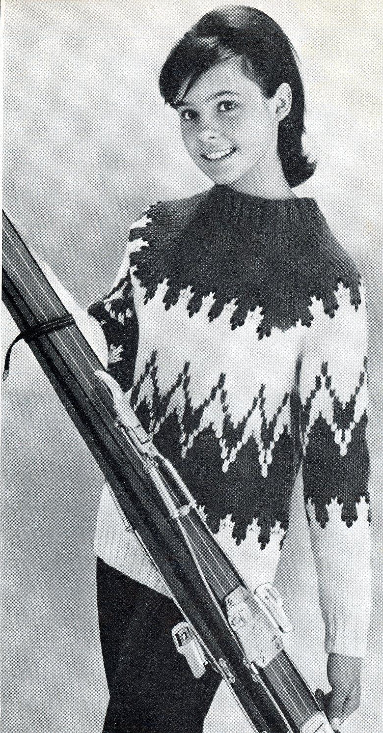 1964 magazine laines et aiguilles pull de ski jeune fille pour la classe de neige en. Black Bedroom Furniture Sets. Home Design Ideas