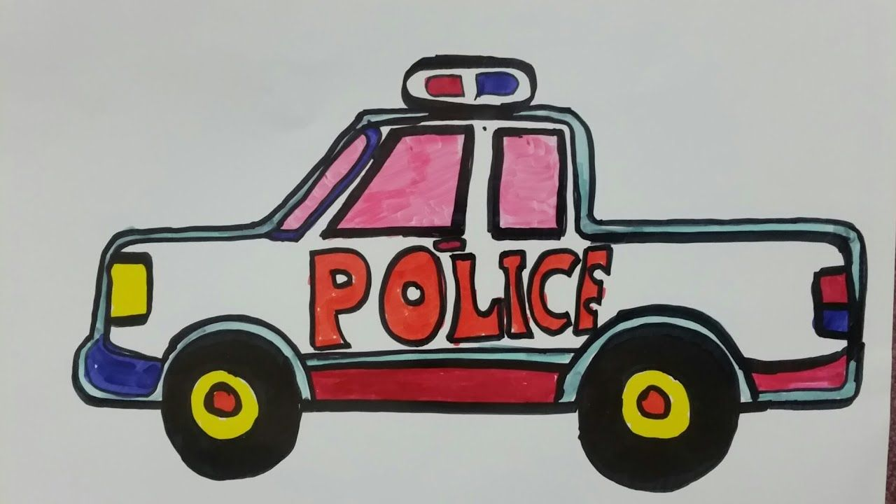 How To Draw A Police Car Truck For Kids Coloring Page For Kids Color Goruntuler Ile Araba Polis Spor