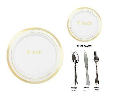 Bulk Dinner / Wedding Disposable Plastic Plates \u0026 silverware white / gold rim  sc 1 st  Pinterest & Bulk Dinner / Wedding Disposable Plastic Plates \u0026 silverware ...