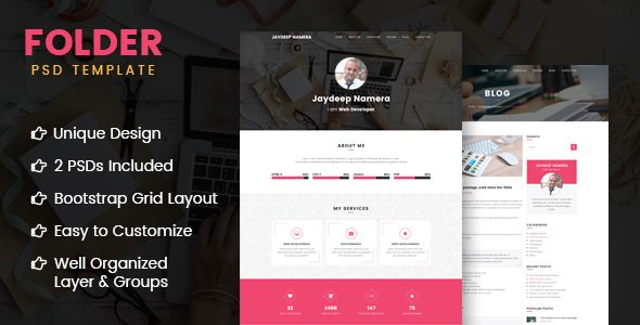 Folder - Freelancer One Page Portfolio  Resume PSD Template Psd