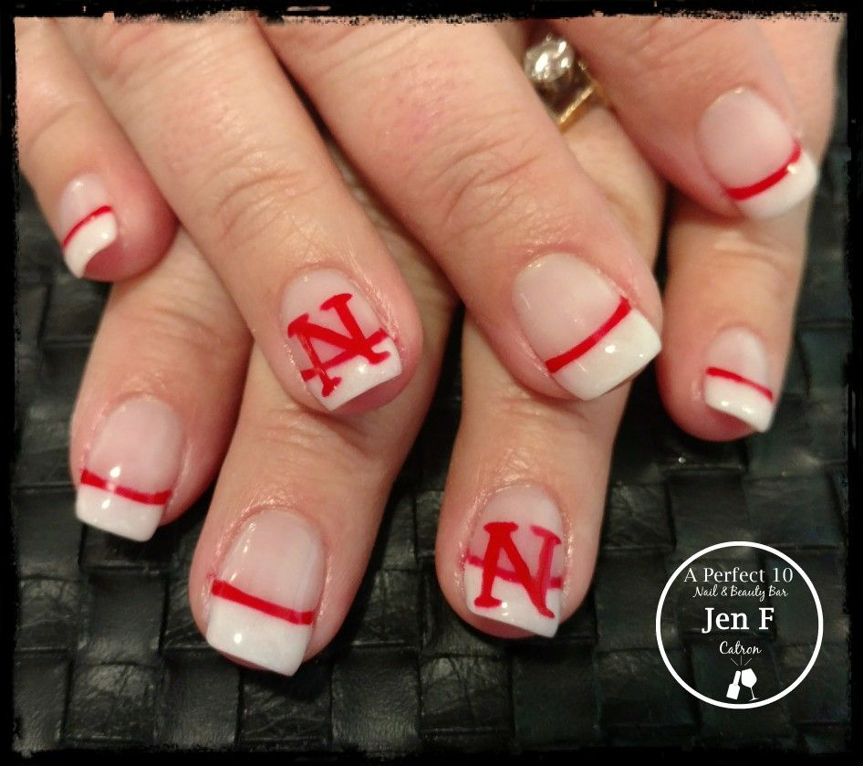 Slick Pour French With Nebraska Husker Nail Art