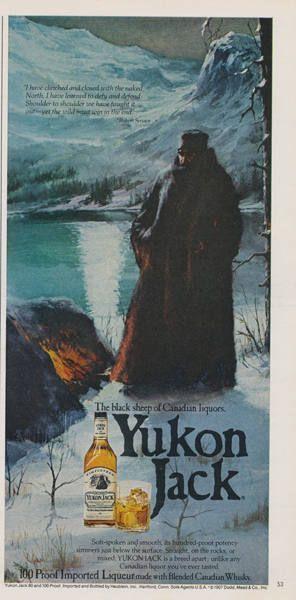 1979 Yukon Jack Whiskey Ad Mountain Man Winter Illustration