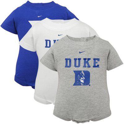 7be894773d37 Nike Duke Blue Devils Infant Duke Blue-White-Ash 3-Pack Creeper Set ...
