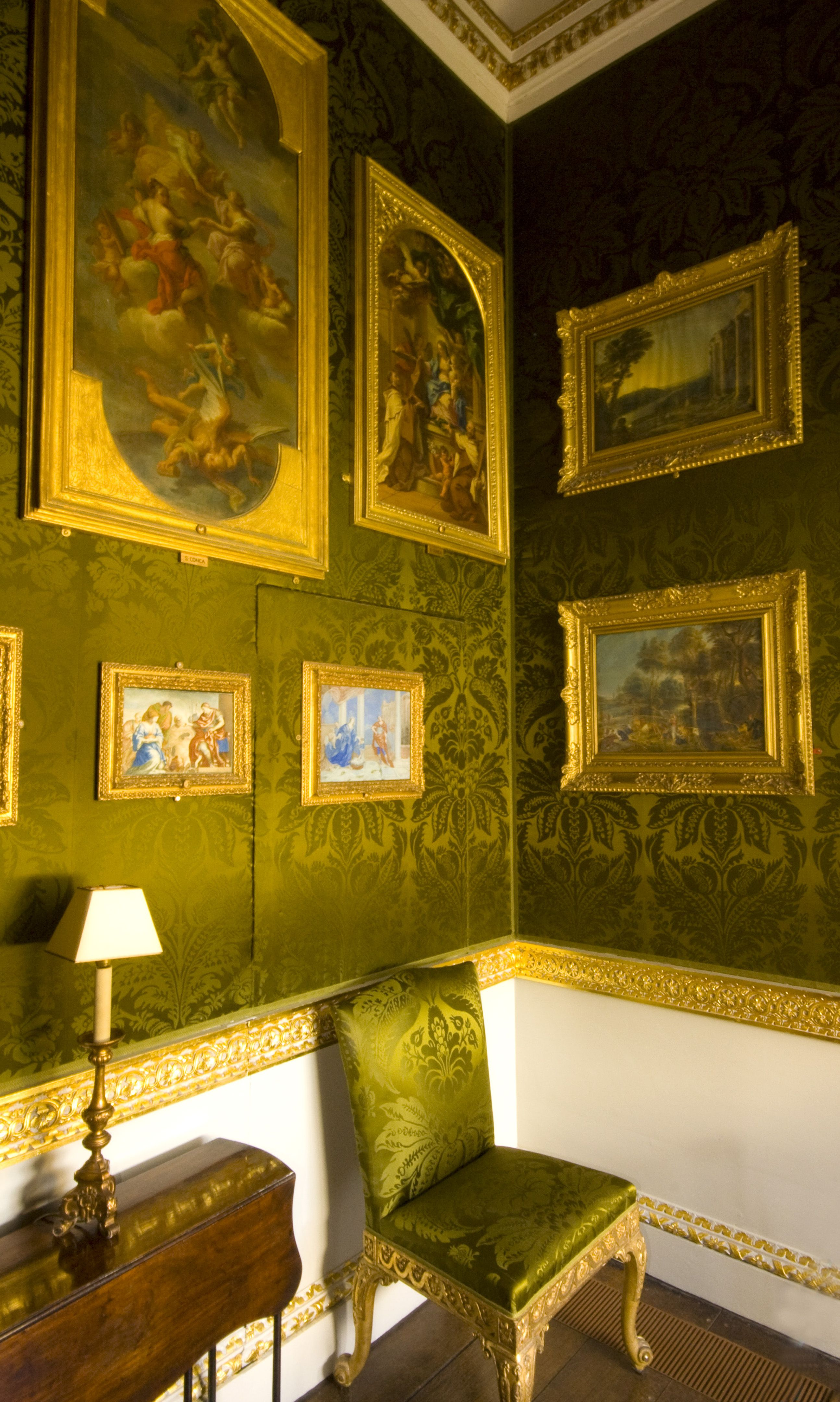 Holkham Hall, State Closet. Pure silk damask and lute in deep olive ...
