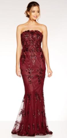 35760670 QUIZ - Berry Sequin Fishtail Dress - Designer Dress hire   New ...