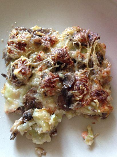Gratin de ravioles au saumon fumé et champignons   Gratin de ravioles, Recette saumon fumé et ...