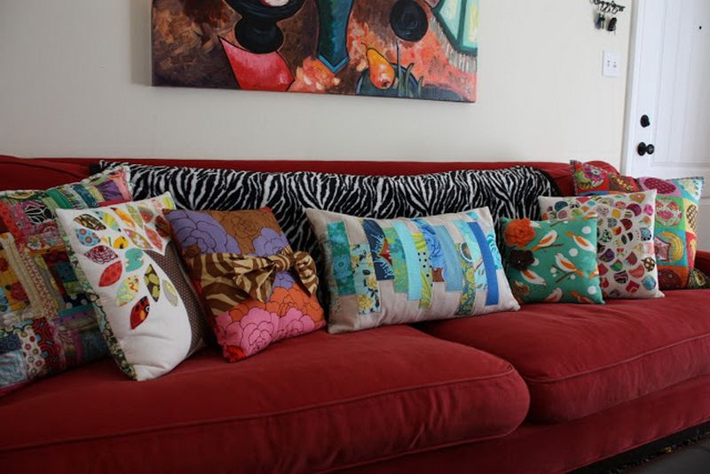 Decoration Colorful Throw Pillows In Various Sizes And Red Sofa
