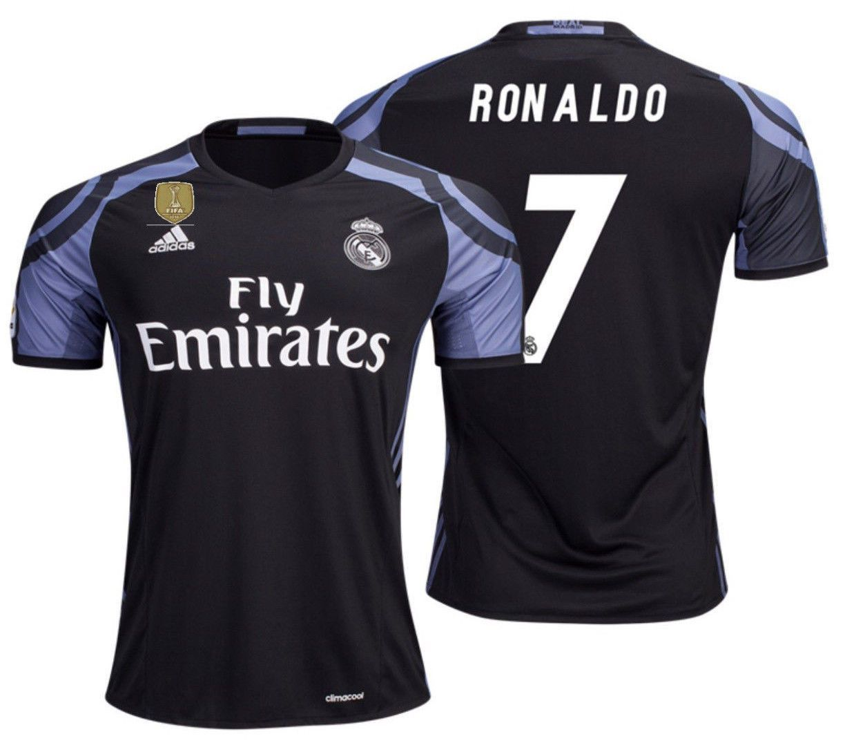 ADIDAS CRISTIANO RONALDO REAL MADRID THIRD JERSEY 2016 17 CWC FIFA PATCH. f244b1191