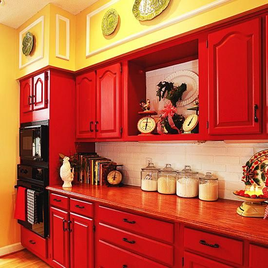 Red Kitchen Cabinets, Red Color Kitchen Cabinets