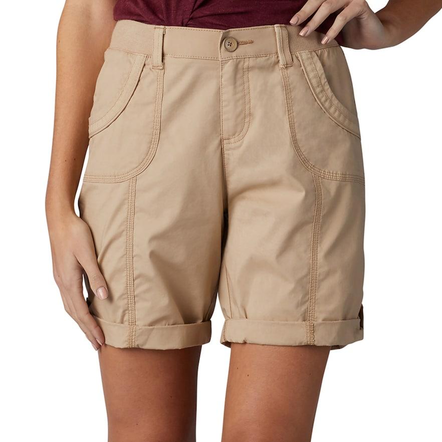 Petite Lee Melody Comfort Waist Poplin Roll Cuff Bermuda Shorts