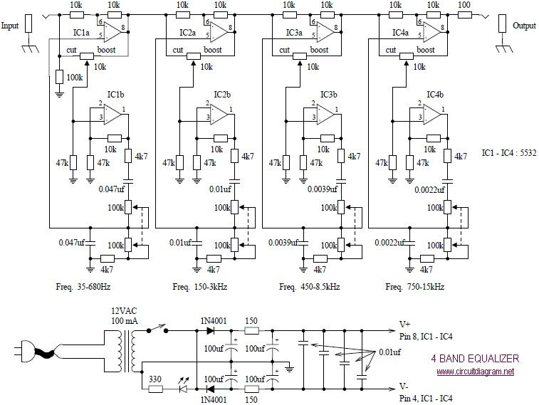 c02afed693ca50848fb7bc7ea32336a2 4 band equalizer schematic diagram schematic equalizer pinterest  at soozxer.org