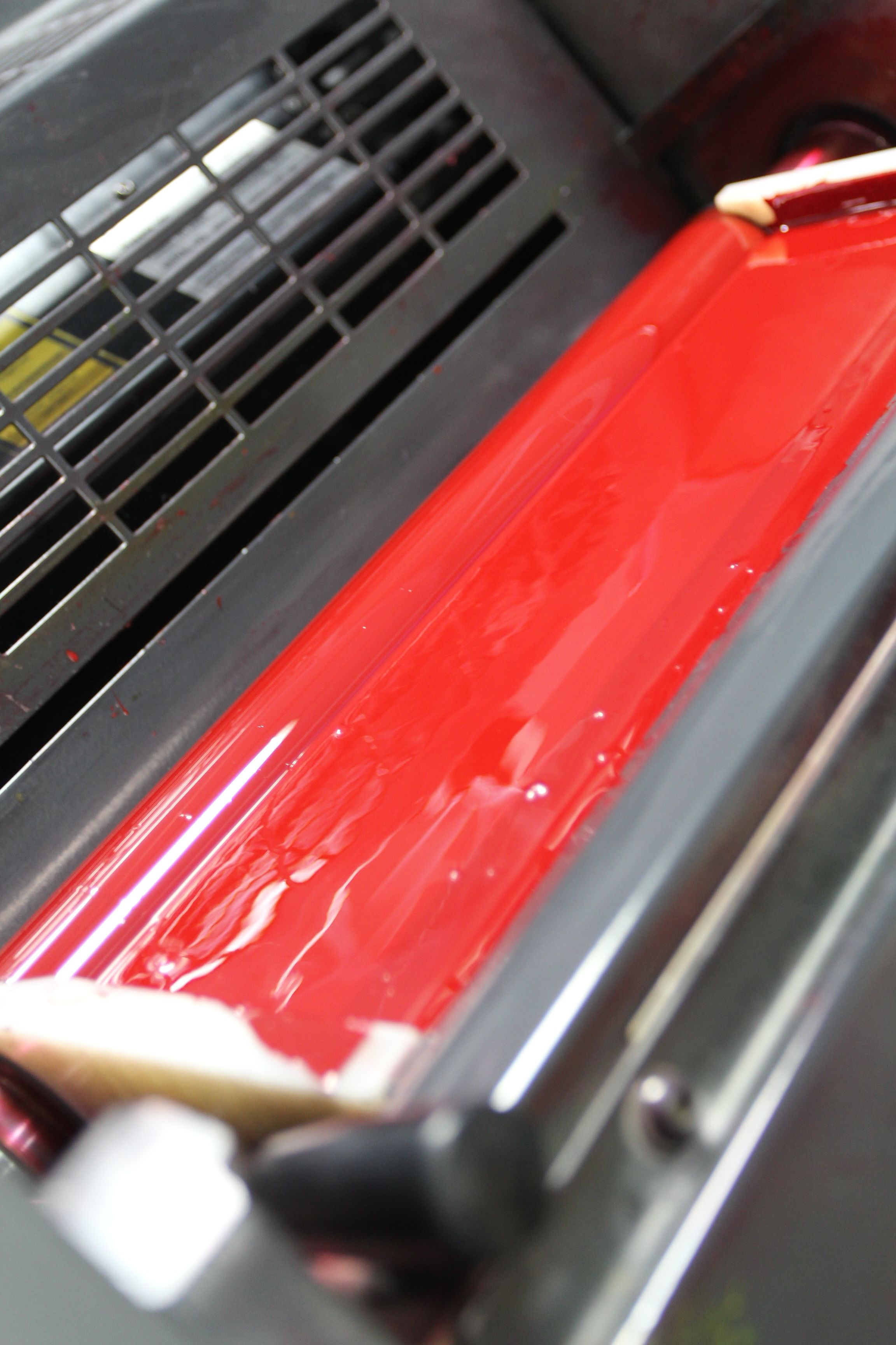 The magenta ink on our 4-color Heidelberg press.