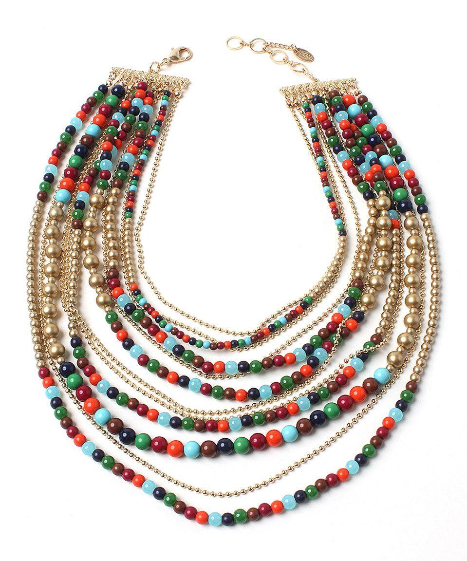 Gold & Red Noho Multi-Strand Necklace by Amrita Singh #zulily #zulilyfinds