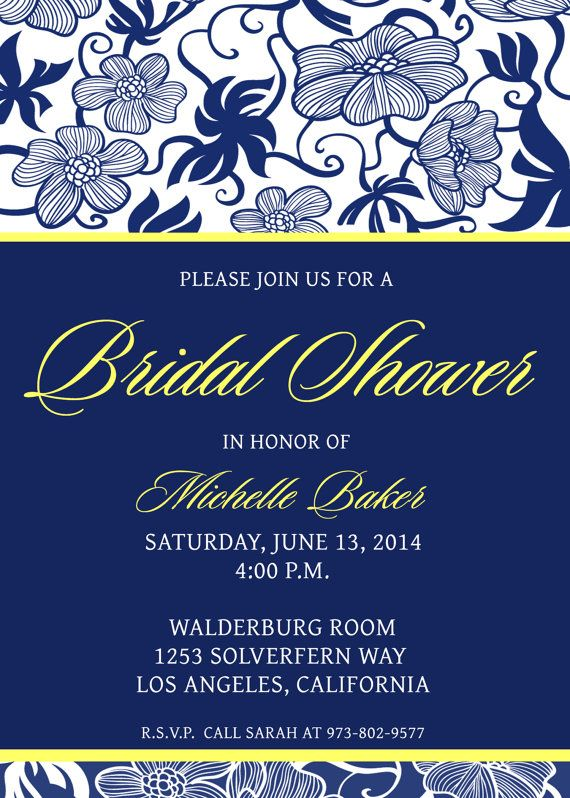 Bridal Shower Invite Navy Blue And Yellow Bridal Shower Invitations Templates Printable Bridal Shower Invitations Templates Bridal Shower Invitations Printable