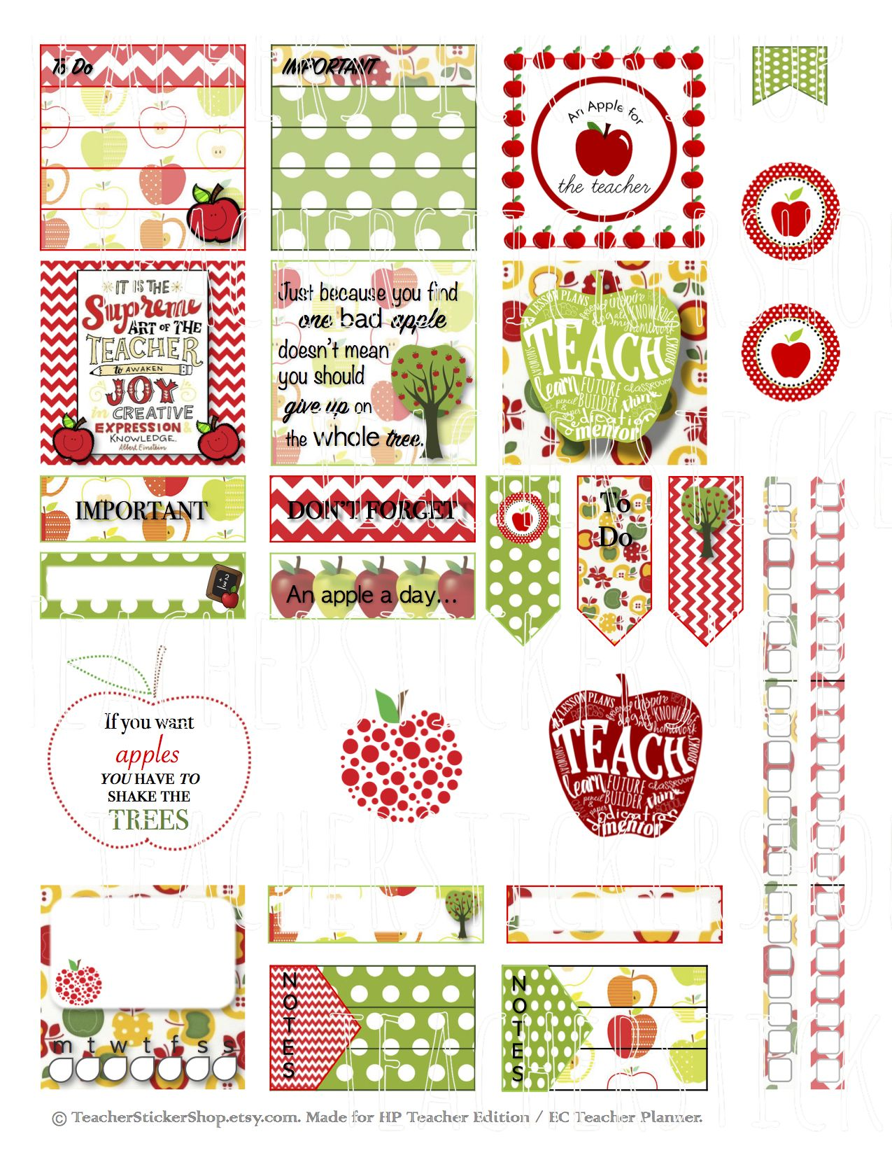 Apple Teacher Stickers PRINTABLE - made especially for the