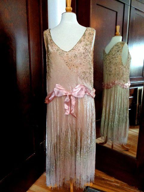 1920's flapper dress authentic original heavily beaded ...