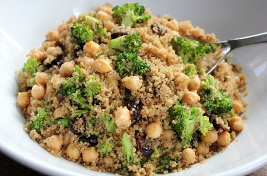 Quinoa Salad with Broccoli, Garbanzo Beans and Cranberries Recipe from @Mavis One Hundred Dollars A Month.