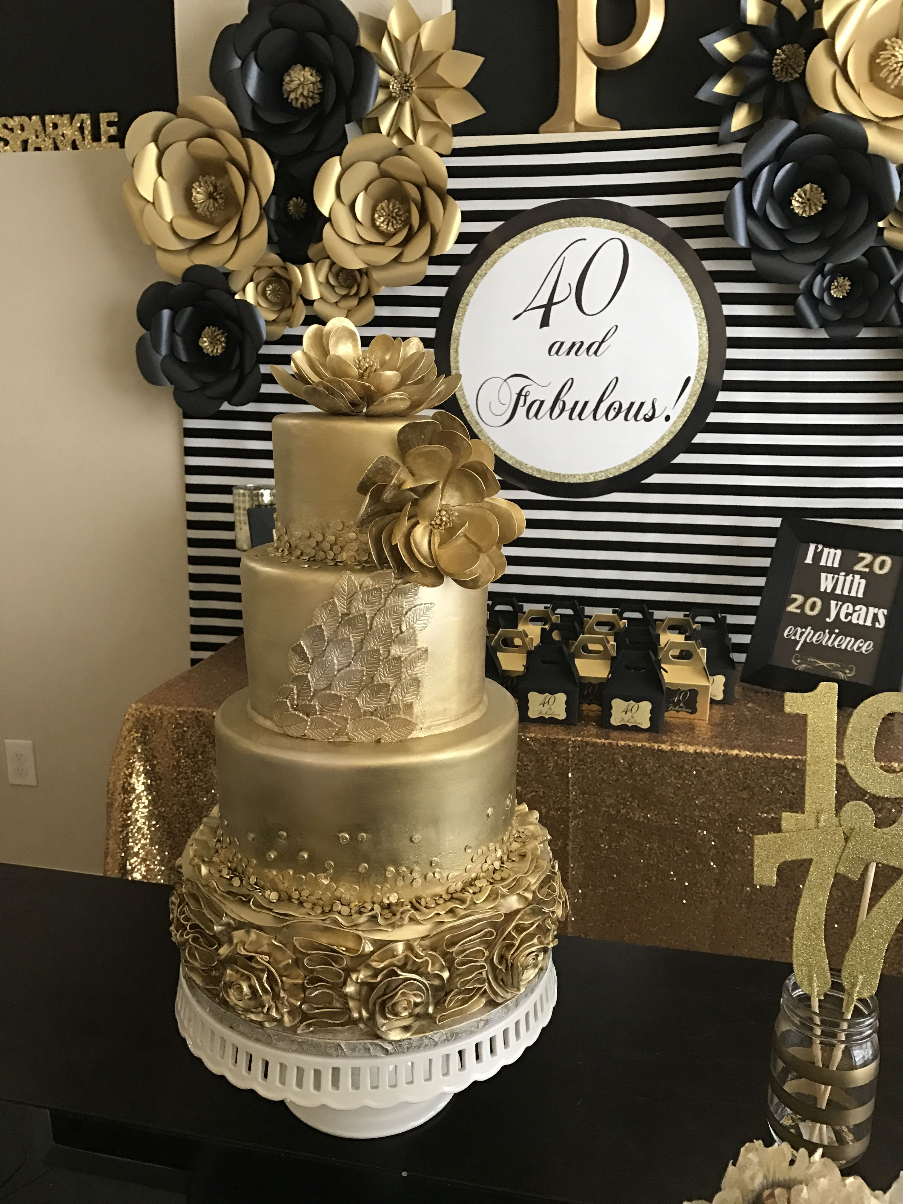 Gold Cake 40 And Fabulous In 2019 40th Birthday