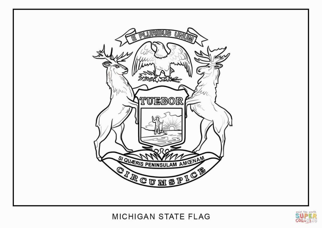 Michigan State Flag Coloring Page Flag Coloring Pages Michigan