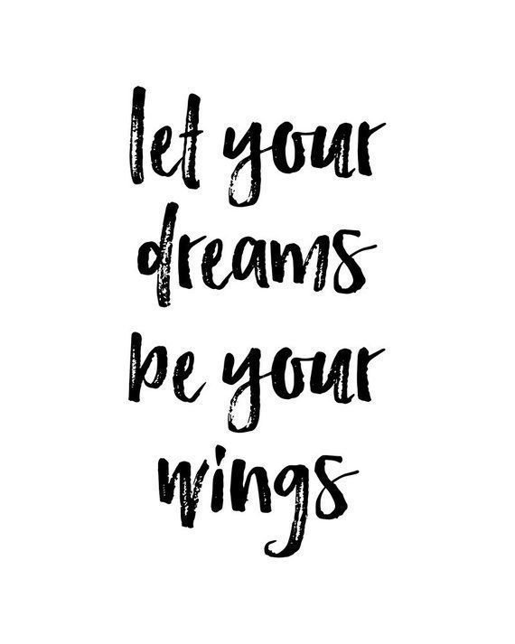 """""""Let Your Dreams Be Your Wings"""" - Printable Wall Art, Dreams Quote, Typography, Poster, Motivational, Inspirational, Printable Quote, Wall Decor, Word Art, Typo Wall Art, High-Resolution Wall Art *** INSTANT DIGITAL DOWNLOAD *** No physical item is shipped. The files are ready for instant download. *** FILES INCLUDED *** JPG files - RGB: - 8x10 inches - 24x36 inches - A4 210x297 mm - A1 594x841 mm PDF files - CMYK - with bleed and crop marks: - 8x10 inches (plus 0,125 inch bleed on each side) - 24x36 inches (plus 0,125 inch bleed on each side) - A4 210x297 mm (plus 3 mm bleed on each side) - A1 594x841 mm (plus 3 mm bleed on each side) There are two zip files: 1. one for printing in inches (8x10 and 24x36 inches, JPG and PDF),  2. one for printing in mm (A4: 210x297 mm and A1: 594x841 mm, JPG and PDF)     ***  HOW TO PRINT YOUR ART *** - print on your home or office computer - email your files to a local print store - upload your files to an online shop Your print is for personal use only but it can be used as many times as you like! *** CUSTOM SIZE *** Contact me if you need a custom size or if you have any problems with your order. Peace and love, Ines © COPYRIGHT Paper Moon Print Art"""