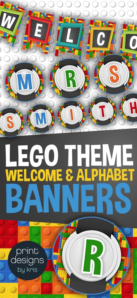 banners for the classroom welcome and full alphabet in lego theme