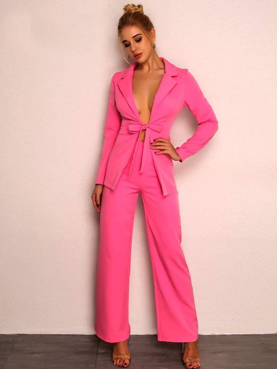 angro selecție uimitoare calitate excelentă Tie Front Blazer and Pants Set in 2019   Wide leg pants, Blazer ...