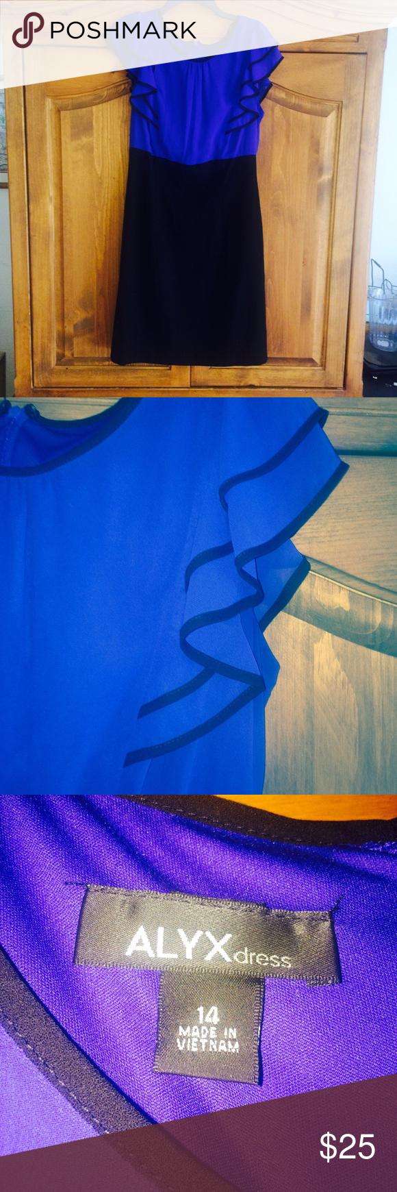 FLATTERING FIT TWO FER DRESS  COBALT BLUE FLUTTER SLEEVE AND BLACK BOTTOM. WEAR WITH BLACK SKINNY BELT . PERFECT FOR OFFICE Alyx Dresses Midi